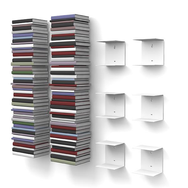 unsichtbares b cherregal mit 12 f chern in farbe wei bis. Black Bedroom Furniture Sets. Home Design Ideas