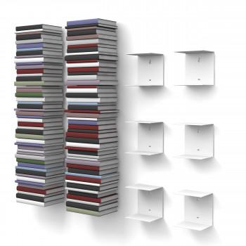 Unsichtbares Bücherregal 2x3er-Set klein in weiss