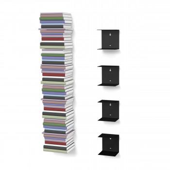 Unsichtbares Bücherregal 4er-Set klein in schwarz
