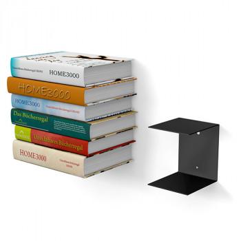 Unsichtbares Bücherregal 1er-Set gross in schwarz