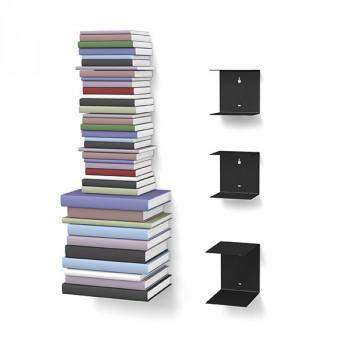 Unsichtbares Bücherregal 2-1er-Set variabel schwarz
