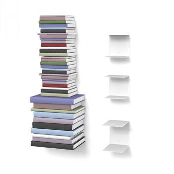 Unsichtbares Bücherregal 2-1er-Set variabel weiss