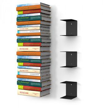 Unsichtbares Bücherregal 3er-Set gross in schwarz