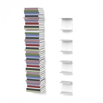 Unsichtbares Bücherregal 4er-Set klein in weiss