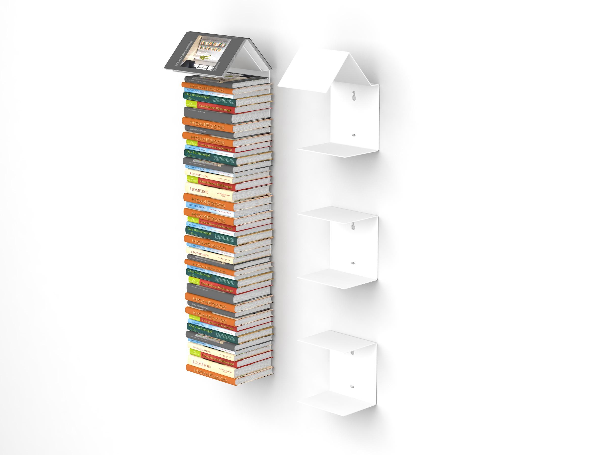Unsichtbare Regalbefestigung home3000 - bookmark regal 2er-set mit unsichtbaren bücherregalen in