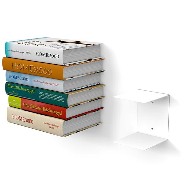 Home3000 Unsichtbares Bücherregal 1er Set Gross In Weiss