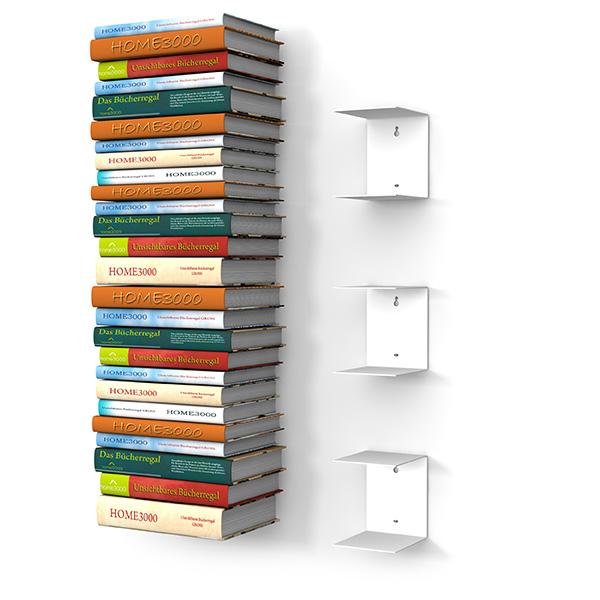 Home3000 Unsichtbares Bücherregal 3er Set Gross In Weiss