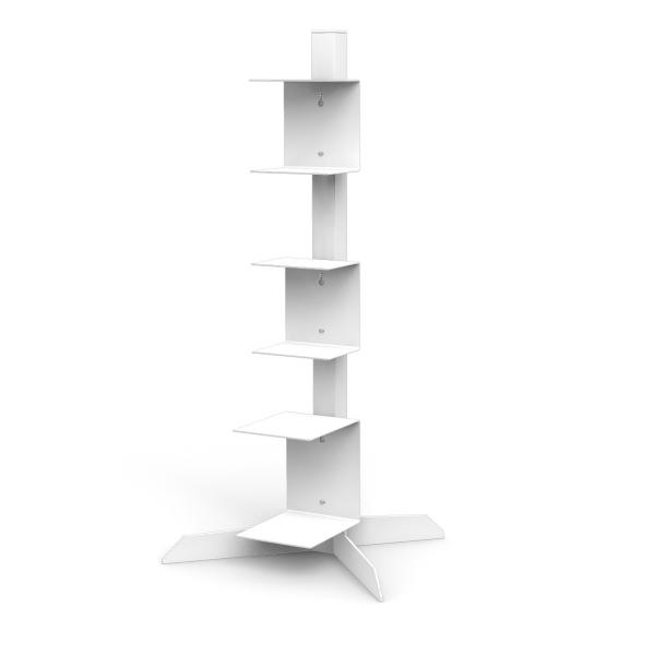 Bücherstapelregal Freistehend Mit 2 Kleinen Und 1 Grossen Unsichtbaren  Bücherregalen In Weiss