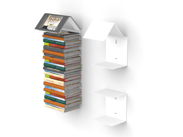 bookmark regal 2er set in weiss b cherregal und lesezeichen zugleich ebay. Black Bedroom Furniture Sets. Home Design Ideas