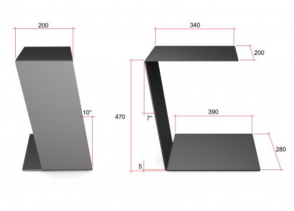 design beistelltisch c table schlicht und klar in schwarz aus metall ebay